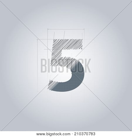Sign Number five. Logotype architectural design. Grey color. Blueprint. With gradient.