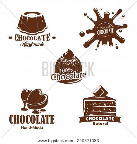 Chocolate desserts, candy and splashes. Patisserie or confectionery choco cakes and pies, chocolate drops of heart shape, brownie or tiramisu tortes, muffins and cupcakes. Vector isolated icons set