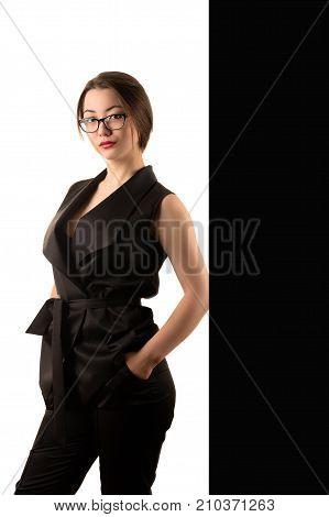 elegant beautiful business woman in black suit