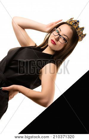 beautiful fashionable Korean girl in stylish suit with crown
