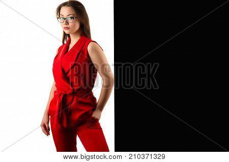 beautiful korean business woman in red suit