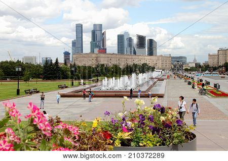 Moscow Russia - July 19 2017: View to Moscow City Complex from Poklonnaya Gora.