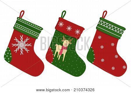 Christmas sock. A set of socks for the holiday. Cartoon. Vector
