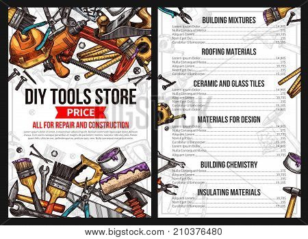 DIY work tools store price list for house repair or handyman construction service. Vector sketch building mixture, roofing material ceramic and glass tile for interior design, chemistry and insulating