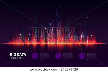 Big data visualization. Fractal element with lines and dots array. Financial report schedule. Stock exchange screen. Business infographic template design. Vector illustration