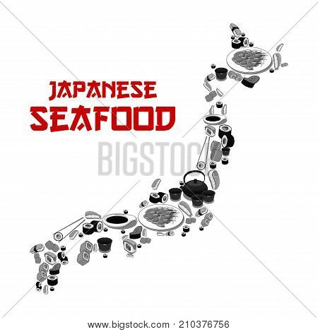 Japanese seafood restaurant or sushi bar poster of Japan map shape. Vector design of fish sushi roll, rice and salmon sashimi, eel or tuna maki and ramen noodle soup or Japanese tea and chopsticks