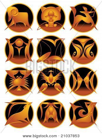 Set Of Zodiac Signs
