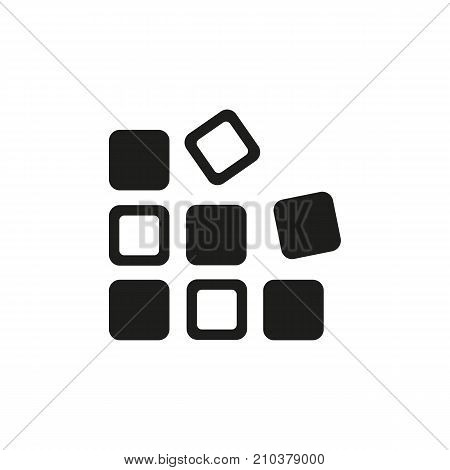 Icon of black and white cubes. Game engine, puzzle, solution. Game components concept. Can be used for topics like programming, engineering, invention