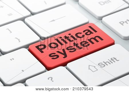 Political concept: computer keyboard with word Political System, selected focus on enter button background, 3D rendering