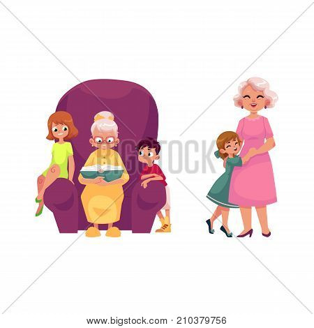 vector flat grandparents and children set. boy, girl kids listening to grandmother reading book, sitting at chair, grandmother hugging with small girl . Isolated illustration on a white background.