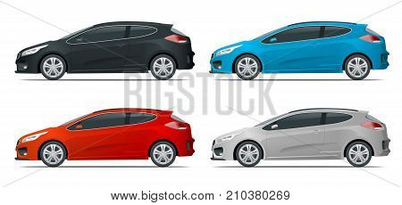 Sportcar or hatchback vehicle. SUV car set on white background, template for branding and advertising. Easy color change. Vector isolated, view side.