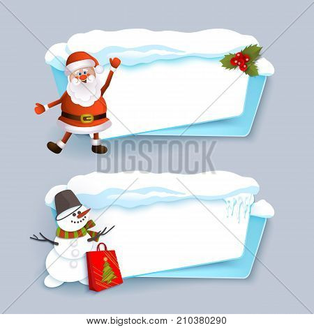 Horizontal Christmas banner with Santa Clause, snowman, ice and snow, flat cartoon vector illustration isolated on grey background. Two horizontal Christmas banner templates with santa and snowman