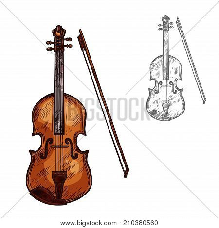 Violin or contrabass musical instrument with bow sketch icon. Vector isolated string music cello or fiddle, violoncello or viola for classic music concert or orchestra jazz festival label design