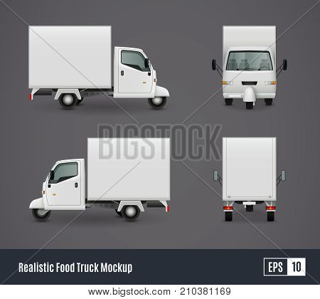 Food trucks realistic ad template mockup set with isolated views of three wheeler van commercial vehicle vector illustration