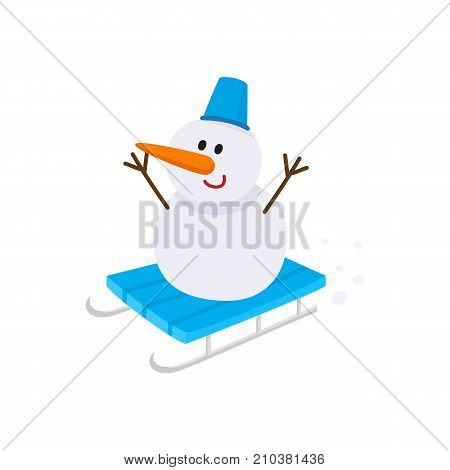 Cute, funny snowman with carrot nose and bucket hat riding a sled, cartoon vector illustration isolated on white background. Cartoon style snowman with carrot nose and bucket hat riding a sled, sleigh