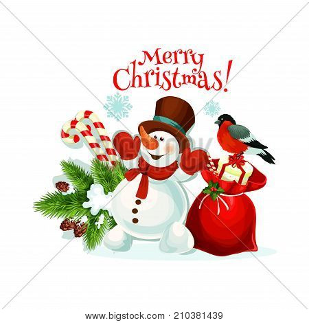 Merry Christmas greeting card of snowman and Santa gift bag icon for happy holiday design template. Vector New Year bullfinch and Christmas tree decoration and candy canes in ribbon for seasonal wish