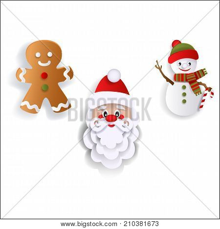 Paper cut Santa Claus, snowman and gingerman cookie, Christmas decoration elements, flat vector illustration isolated on white background. Flat Santa Claus, gingerman and snowman decoration elements
