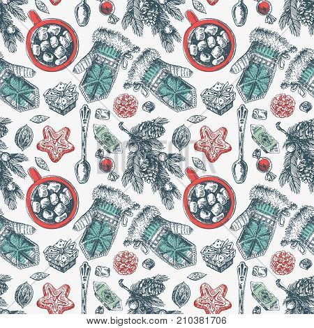 Hand drawn sketch seamless pattern christmas food. Sketch style drawing. Us for Invitations, flyers, postcards, web etc