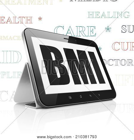 Healthcare concept: Tablet Computer with  black text BMI on display,  Tag Cloud background, 3D rendering