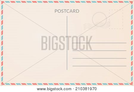 Realistic old postcard illustration red and blue borderline