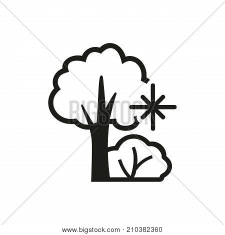 Icon of winter. Snowflake, bush, tree. Season concept. Can be used for topics like stroll, walk, leisure