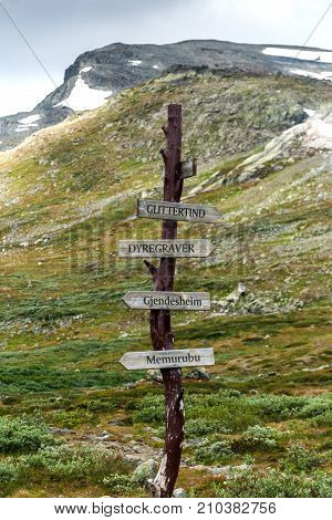 Wooden waymark in the Jotunheimen National Park Norway