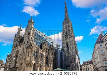 St. Stephen's Cathedral in Vienna, Austria in a beautiful autumn day.