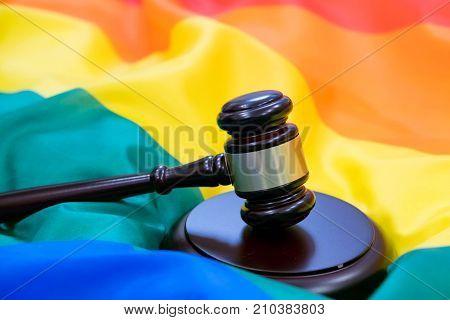 Hammer And Gavel Again Against Rainbow Flag