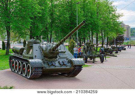 VITEBSK BELARUS - MAY 22 2017: SU-100 (Soviet self-propelled artillery unit class