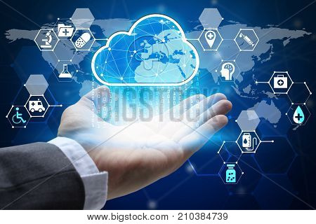 hand holding with virtual screen cloud computing and medical and health care Interface Icons global network Cyber Security Data Protection Business Technology Privacy concept Internet Concept of global business cloud computing concept.
