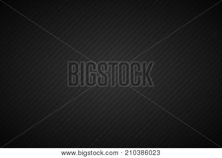 Dark abstract metallic background with slanting lines black and grey striped pattern parallel lines and strips diagonal carbon fiber vector illustration