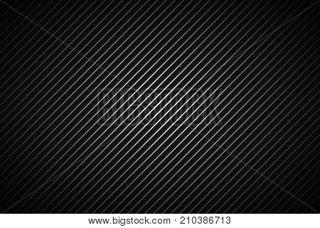 Dark abstract metallic background black and grey striped pattern diagonal lines and strips carbon fiber vector illustration