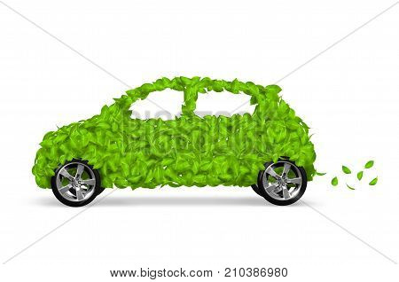 3D rendering of a green eco car concept made up of green leaves.