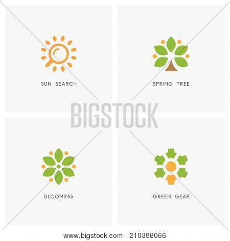 Nature logo set. Sun search with loupe or magnifier, tree with leaves, blooming flower and green gear wheel symbol - travel agency, ecology, spring and summer weather icons.