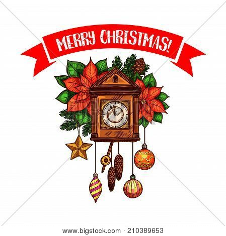 Merry Christmas greeting card sketch design template of clock chimes and Christmas holly wreath decoration. Vector poinsettia star and wish lettering ribbon for New Year or Xmas celebration