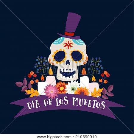 Dia de Los Muertos greeting card, invitation. Mexican Day of the Dead. Ornamental sugar skull with hat, ribbon banner, candles and flowers Hand drawn illustration. Vector poster with dark background.