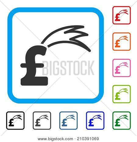 Fortune Falling Pound icon. Flat gray pictogram symbol inside a light blue rounded rectangle. Black, gray, green, blue, red, orange color versions of Fortune Falling Pound vector.