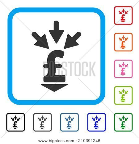 Integrate Pound Payment icon. Flat grey pictogram symbol inside a light blue rounded squared frame. Black, gray, green, blue, red, orange color additional versions of Integrate Pound Payment vector.