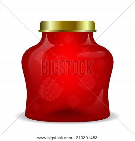 A jar with jam on a white background. Raspberry confiture. Vector illustration.