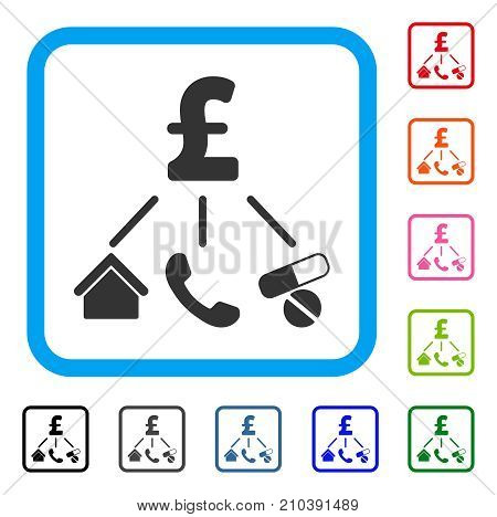 Life Pound Expenses icon. Flat grey pictogram symbol inside a light blue rounded rectangle. Black, gray, green, blue, red, orange color variants of Life Pound Expenses vector. poster