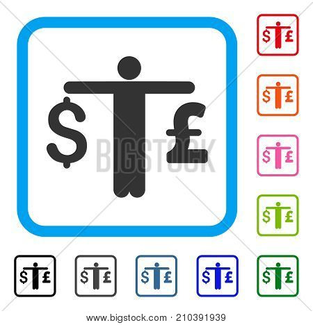 Person Compare Dollar Pound icon. Flat gray pictogram symbol inside a light blue rounded square. Black, gray, green, blue, red, orange color versions of Person Compare Dollar Pound vector.