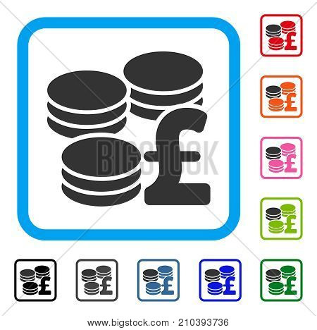 Pound Coins icon. Flat grey iconic symbol in a light blue rounded rectangular frame. Black, gray, green, blue, red, orange color versions of Pound Coins vector.
