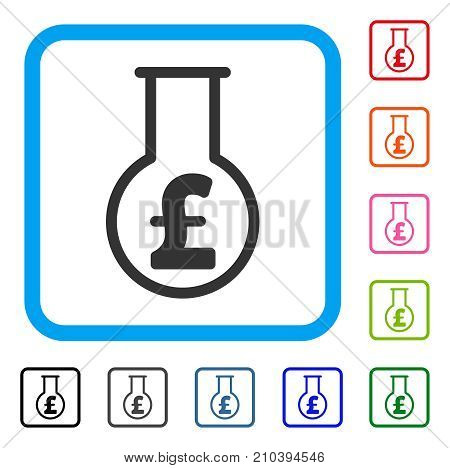 Pound Financial Alchemy icon. Flat grey iconic symbol in a light blue rounded rectangular frame. Black, gray, green, blue, red, orange color versions of Pound Financial Alchemy vector.