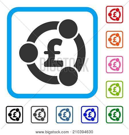 Pound Financial Collaboration icon. Flat gray pictogram symbol in a light blue rounded squared frame. Black, gray, green, blue, red, orange color versions of Pound Financial Collaboration vector.