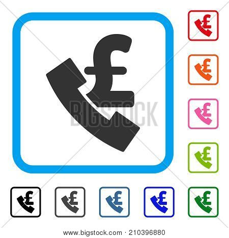 Pound Payphone icon. Flat grey pictogram symbol inside a light blue rounded frame. Black, gray, green, blue, red, orange color variants of Pound Payphone vector. Designed for web and application UI.