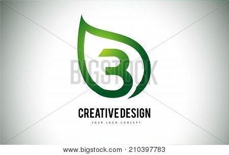 B Leaf Logo Letter Design With Green Leaf Outline