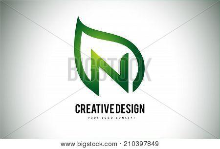 N Leaf Logo Letter Design With Green Leaf Outline