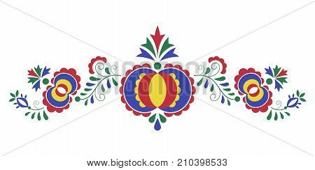 Traditional folk ornament the Moravian ornament from region Slovacko floral embroidery symbol isolated on white background vector illustration