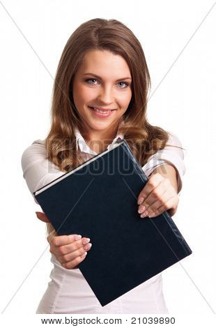 Attractive woman smiling while holding book