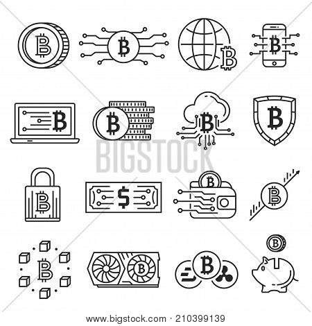Blockchain line icon set. Public digital ledger of cryptocurrency transactions network. Technology of economic transactions. Vector line art illustration isolated on white background